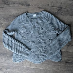 Grey Sweater with Scalloped detailing